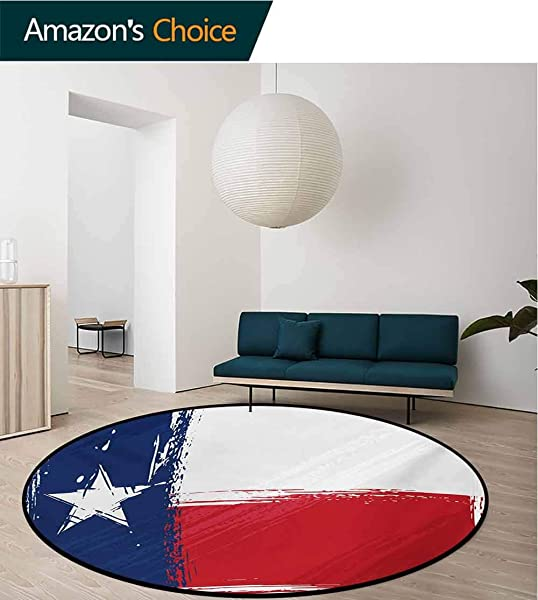 RUGSMAT Texas Star Round Rugs For Bedroom Grunge Flag With Watercolor Brush Strokes Independent Country Circle Rugs For Living Room Diameter 59 Inch Vermilion White Dark Blue
