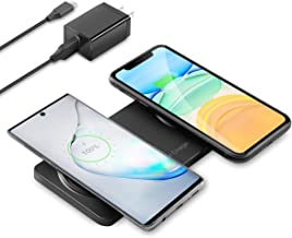 Kexm Dual Fast Wireless Charger,2 in1 Qi Wireless Charging Pad,Compatible with iPhone 12, 12 Pro, 12 Pro Max iPhone 11 Pro MAX/XS MAX/XR/X/8,Samsung Galaxy S10/S9/S8/Note 8 All Qi Enabled Phones