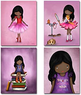 Set of 4 Art Prints for Girls Room African American Artwork Pink Purple Wall Art Posters for Child's Bedroom or Nursery 8x10 Dark skin Black Hair Girl
