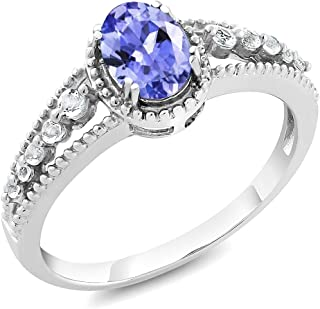 Gem Stone King 925 Sterling Silver Tanzanite and White Topaz Women's Engagement Ring (1.00 Cttw Oval Gemstone Birthstone, Available 5,6,7,8,9)