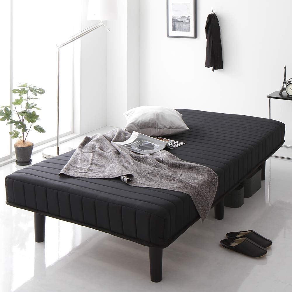 ベッド 脚付きマットレス ブラック シングル