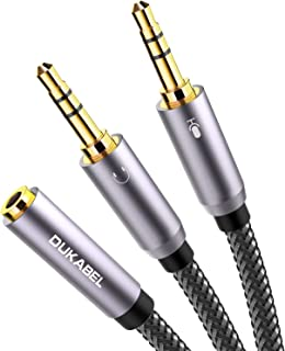 Headset Splitter Cable, Gold-Plated & Strong Braided Y Splitter Audio Cable Separate Microphone Headphone Port Gaming Headset Splitter PC Earphone Adapter VoIP Phone -DuKabel TopSeries (11inch / 30cm)