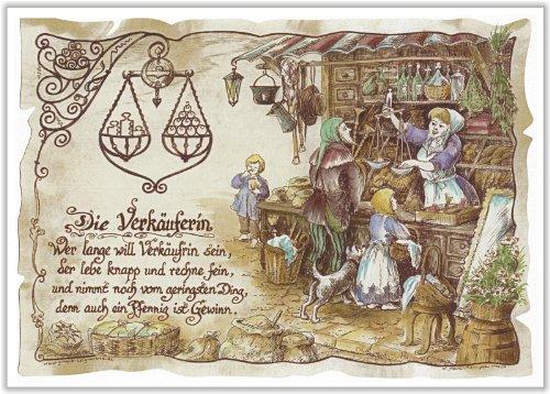 Die Staffelei Geschenk Karte Berufsbild Verkäuferin Einzelhandel Zeichnung mit Gedicht, 30 x 21 cm