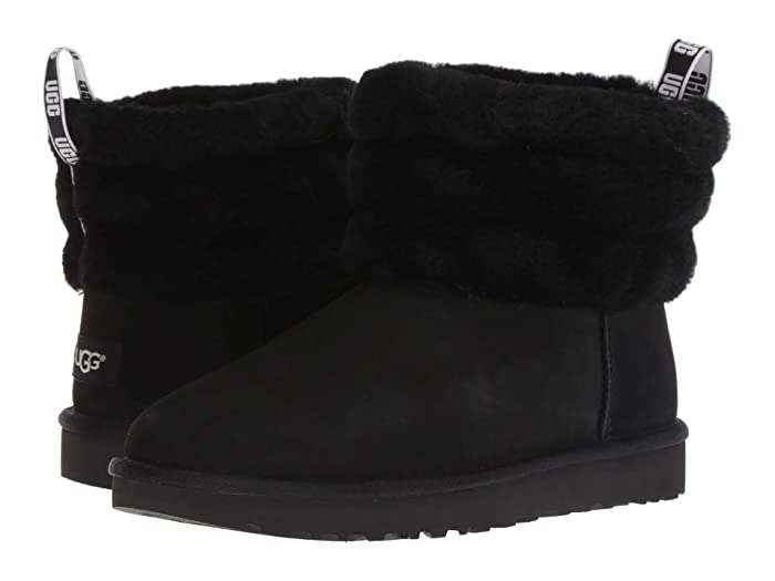 UGG  Fluff Mini Quilted (Black) Womens Pull-on Boots