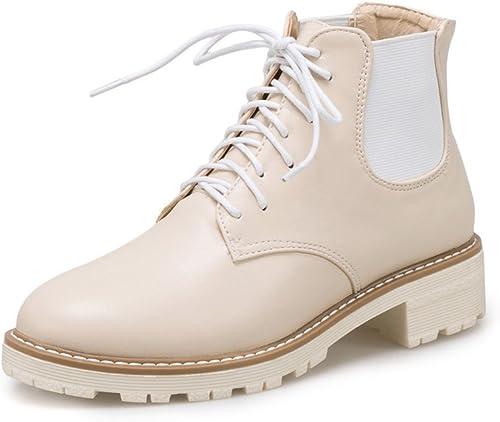 GTVERNH-Les Chaussures Et Bottes Taille Petites Laines Plat Avec Sen Sen Sen Coréen Bottes Souliers Martin Nu 3c5