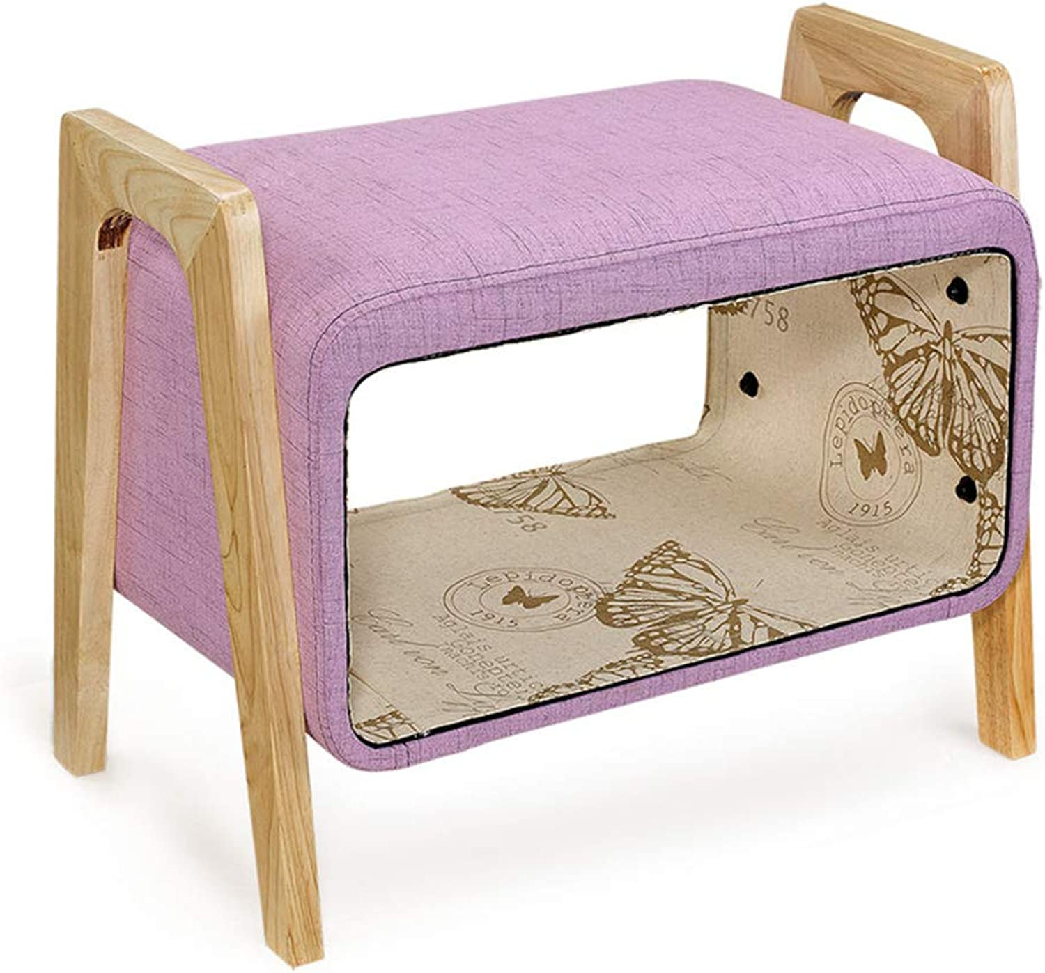 Stool Storage shoes Bench 60x48x36cm Solid Wood Foot Storage Fabric Sofa Stool (color   purple)