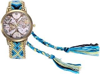 Dilwe Reloj de Pulsera para Mujer, Reloj de Moda con Caja de Tejido y dial con patrón del Mapa del Mundo para Regalo de niñas
