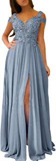 Women's A-line Evening Gowns Cap Sleeves Lace Appliqued Long Prom Dress W/ Slit