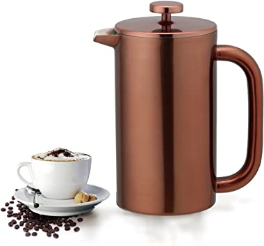 Highwin 8-Cup Double Wall Insulated Stainless Steel French Coffee Press, 35-Ounce Durable Coffee Tea Maker with Stainless Steel Plunger, Copper