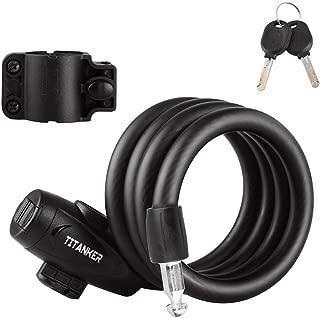 Titanker Bike Lock, Bike Locks Cable Lock Coiled Secure Keys Bike Cable Lock with Mounting Bracket, 4 Feet x 1/2 Inch Diameter
