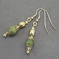 Boucles d'oreilles Thurcolas en perles de Jade de Taiwan et coupelles filigrane couleur or antique