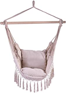 Hammock Swing Chair Hanging Rope Chair Outdoor Indoor Hammock Net Chair for Kids Baby Adult, Camping Chair with Two Cushions (White, 39.4x51.2 Inch)