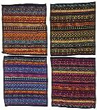 Ilkadim 8 Stück Waschlappen 100% Baumwolle, 28 x 28cm, Motiv Ethno bunt