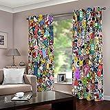 WAFJJ Cortinas Dormitorio Moderno Graffiti de Color Blackout Curtain Cortina Opaca Suave para Ventanas de Habitación Juvenil con Ojales Estar Niño Tamaño:2x117x138cm(An x Al)
