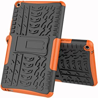 TenYll case For Huawei MediaPad T3 8.0, Shockproof Tough Heavy Duty Armour Back Case Cover Pouch With Stand Double Protective Cover Huawei MediaPad T3 8.0 Case -Orange