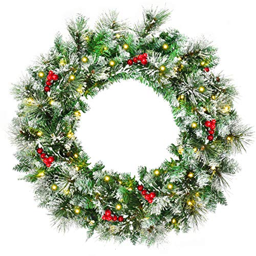 Goplus Snow Flocked Christmas Wreath, Pre-lit Battery Operated with 50 LED Lights, Timer, Snow and Red Berries, Ideal Xmas Decoration for Doorway Window Wall