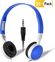 Wholesale Bulk Headphones Classroom Earbuds - Keewonda (KW-X25) 25 Pack Kids Headphones in Bulk Foldable Headsets for School,Computer Lab, Library,Hospital, Museums, Testing Centers, Hotels
