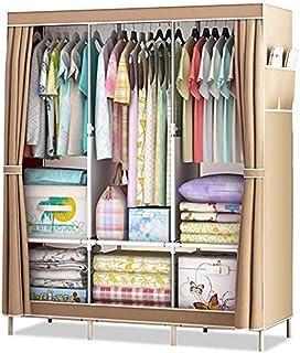 HWG Armoire en Tissu Armoire Portable Armoire De Rangement pour Vêtements Suspendus avec 3 Rails Suspendus, 6 Tablettes,B