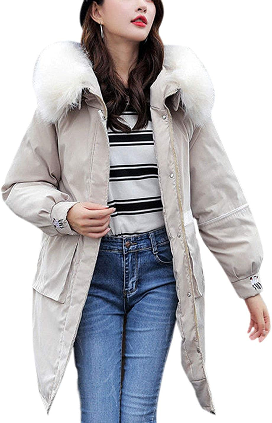 Yeokou Womens Casual Faux Fur Trim Hoodie Mid Long Puffy Quilted Parka Coat Jackets