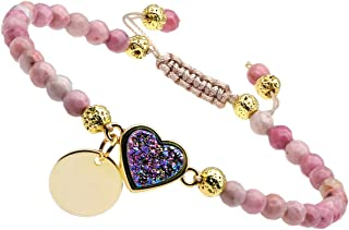 Nupuyai 4mm Faceted Stone Beads Bracelet for Women Men, Adjustable Healing Crystal Chakra Bracelet with Druzy Heart Charms