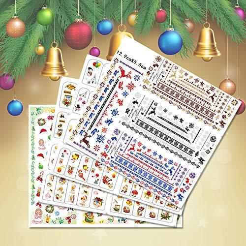 KADS クリスマステーマネイル水転写シール4枚セット ネイルステッカー ネイル飾り マニキュア転写ステッカー ネイルデザイン用品セット (セット3)