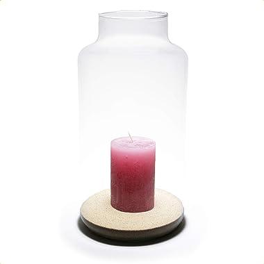 PIVELLO® Glasvase Zylinder HBT 35x17x17cm | Mundgeblasen & Handgefertigt | 100% Recyceltes Glas | Als Windlicht, Blumenvase,