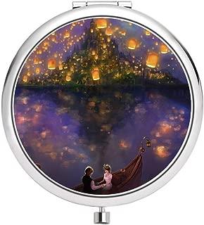 DISNEY COLLECTION Makeup Mirror for Women Girls Disney Flynn Princess Rapunzel Tangled The Lights Pattern Design Light Cute Portable Delicate