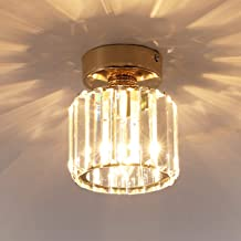 Jaycomey Crystal Ceiling Light Fixture, Mini Gold Chandeliers Semi Flush Mount Ceiling Lighting, Modern Crystal Round Pend...