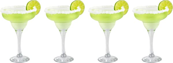 Epure Firenze Collection 4 Piece Margarita Glass Set - Classic For Drinking Margaritas, Pina Coladas, Daiquiris, and Other...