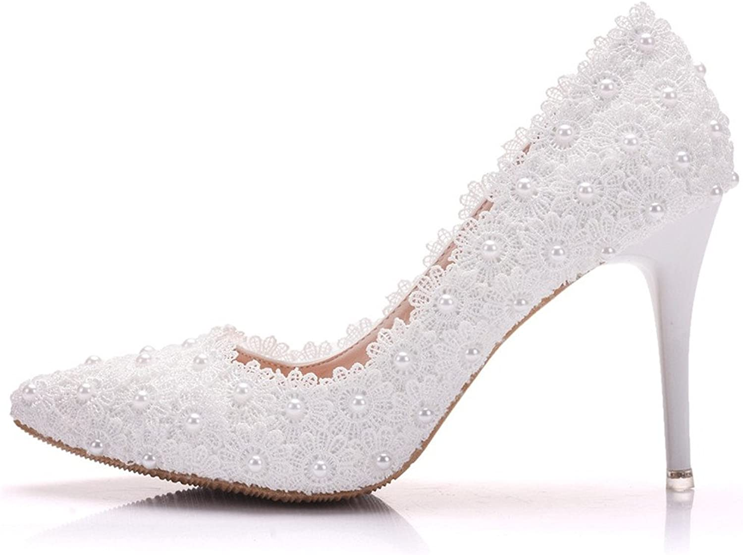 Gusha Pearl White Lace Wedding shoes Stilettos Party Dance Pointed Toe High Heels