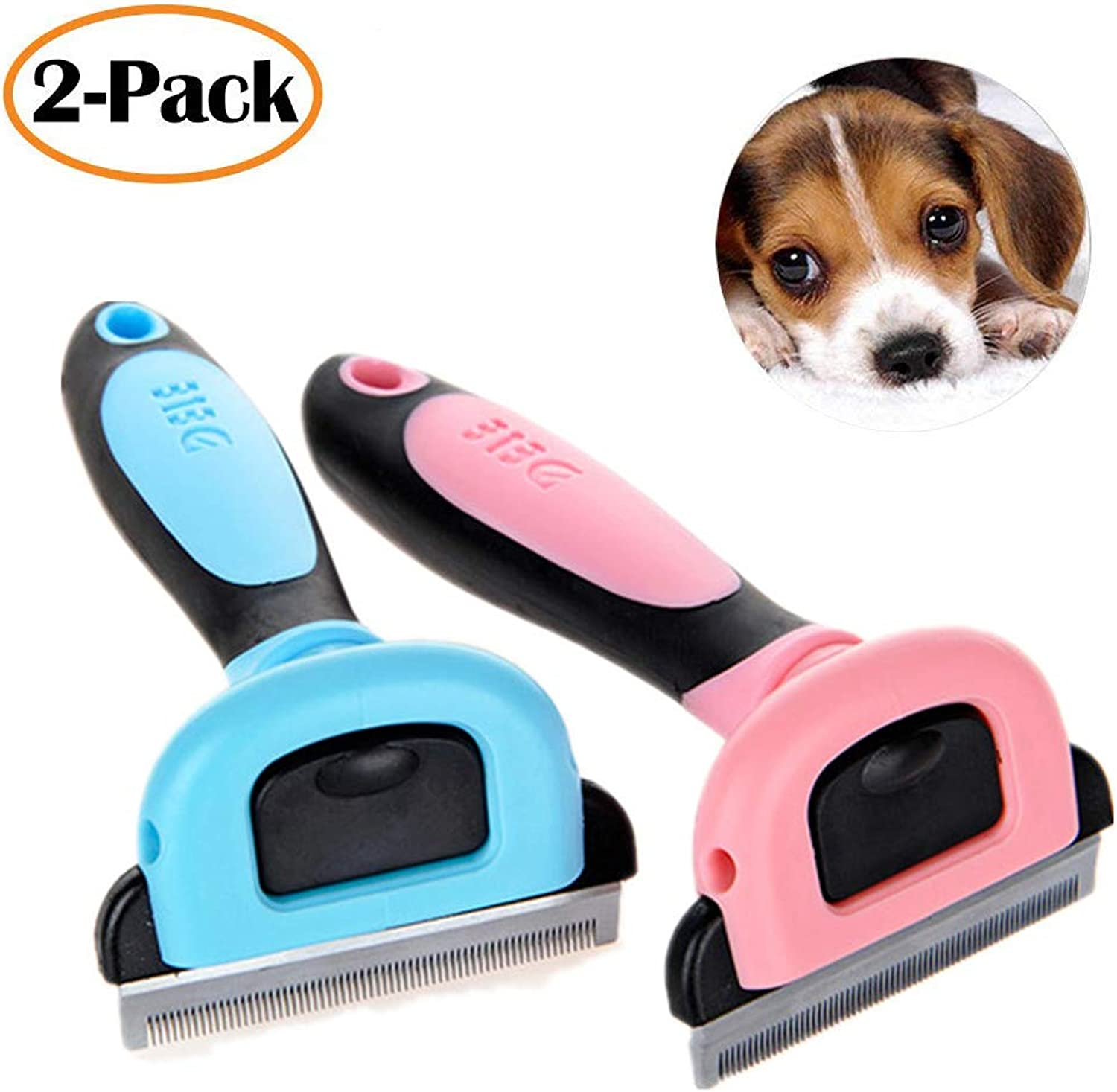 Pet Grooming Brush Deshedding Tool Hair Removal Comb, Dogs and Cats Small Animals 2 Pack,M