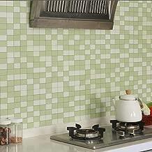 LZYMLG Kitchen Backsplash Tile Anti Oil PVC Wallpaper Home Decor Self Adhesive Wallpaper for Bathroom Decor Peel and Stick Wall Paper Green 3mX60cm