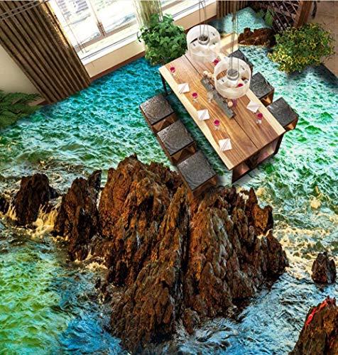 Etiqueta engomada del piso 3D Suelo 3D personalizado Papel pintado pintado para pegar Piedra pómez del océano de alta definición Piso del baño de la sala de estar 3D-350 * 245Cm Para la habitación d