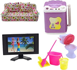 Fuli 5er/Sets for Dollhouse 1x Lovely Flower Print Sofa Couch with 2 Cushions + 1x Washing Machine + 1x Television TV + 4e...