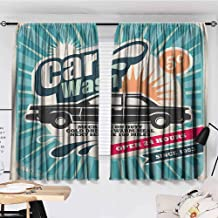 KAKKSW Curtain Hanging Vertically, 1950s Decor, Retro Car Wash Auto Service Repair Poster Style Art in Vintage Color Classic Design Print, with Beautiful Patterns, 72