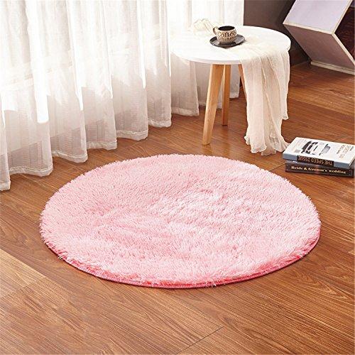 LIYINGKEJI Alfombras Redondas para Niños Alfombras para Niños Juegos Infantiles Sala de Estar Súper Suave Home Shaggy Carpet 80X80 CM (Rosa)