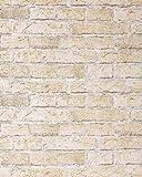 Papel mural con efecto muro de ladrillos EDEM 583-20 con imitación piedra stones y diseño rústico en beige arena