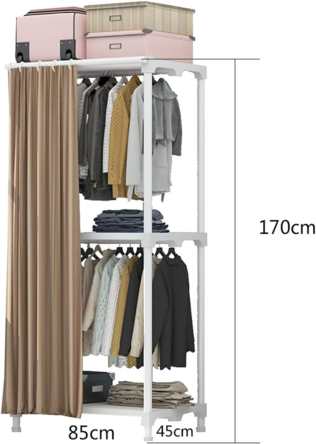 JIAYING Standing Multi-Functional Coat and shoes Rack,2-Tier Entryway Metal Coat Rack for Home Office Bedroom Max Capacity 44lbs (color   Coffee)