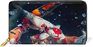 Wallets for Women Leather Assorted-Color Koi Fishes Long Zipper Clutch Wallets