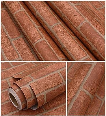 Peel & Stick Self-Adhesive Waterproof Vinyl Brick Pattern Wallpaper Wrap Roll