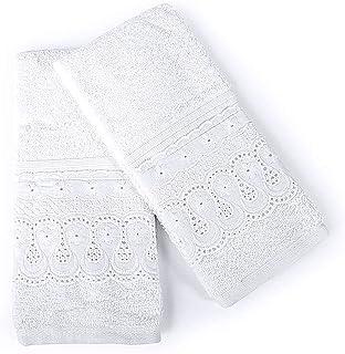 Kit Toalha Lavabo 02 Peças Com Boardado Inglês Cristal Renascença Branco - 44829