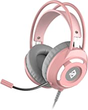 AX120 Fone de Ouvido com Fio para Jogos 7.1 Independente de Som Música Redução de Ruído Fone de Ouvido - Rosa (3,5 mm)