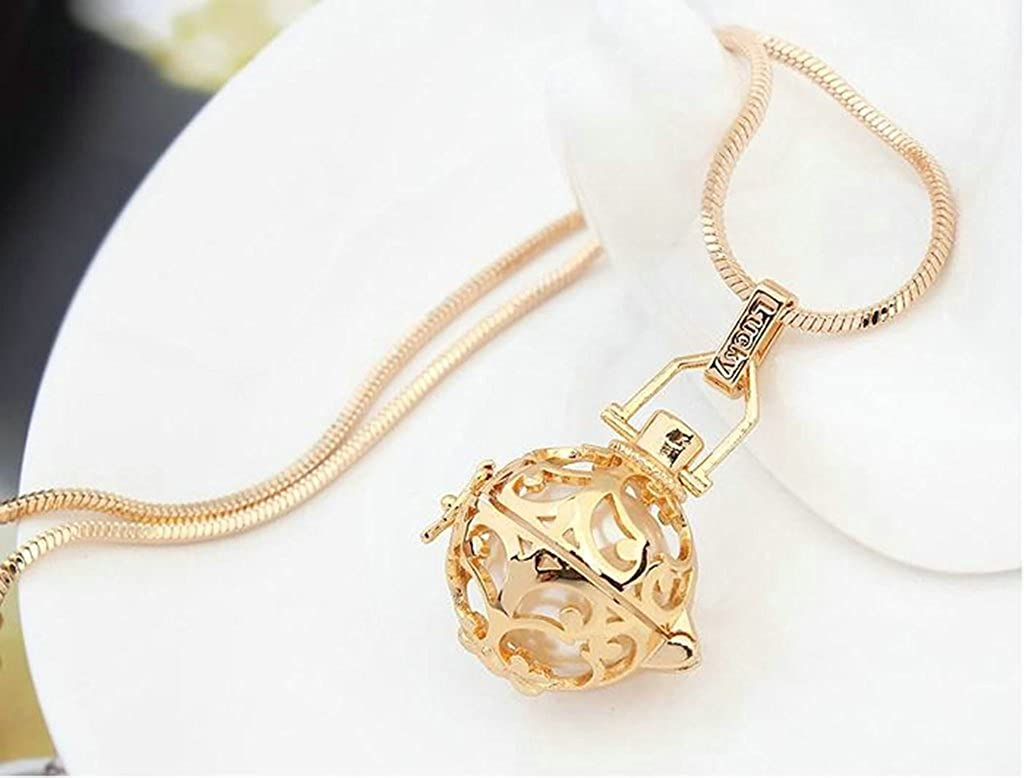 Daesar Gold Plated Womens Ball Necklace Rhinestone CZ Pendant Necklace for Women