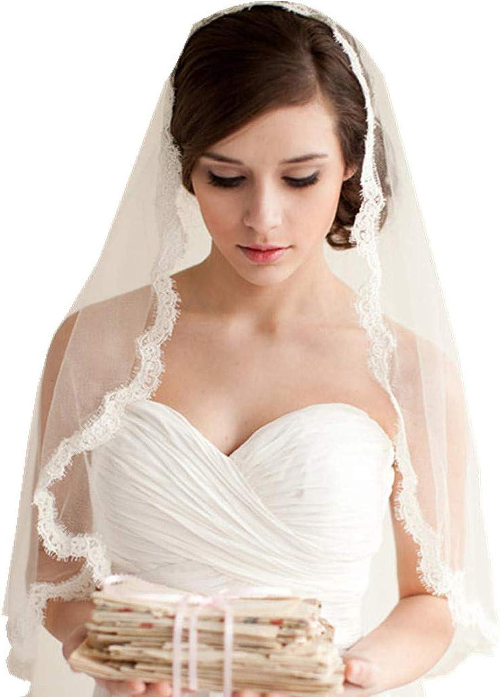 Borje 1 layer Lace Edged Waist Length Bridal Veil with Comb Wedding Veils