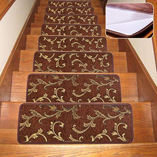 Seloom Stufenmatten mit rutschfester Gummiunterseite, waschbar, rutschfest, speziell für Holzstufen im Innenbereich 25.5x9.5 Inch, 13Piece braun