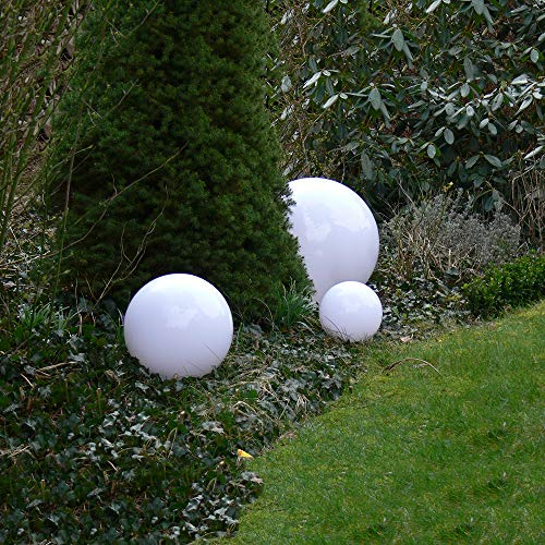Dapo Kugelleuchte Gartenlampe Hochwertige Außenleuchte Marlon 3er Set (20+30+40cm) Gartenleuchte Kugellampe mit Erdspieß, E27, Kugellampe