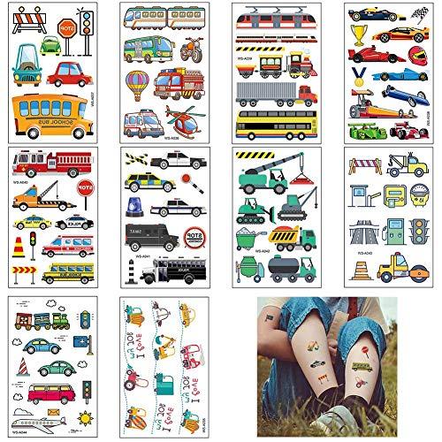 Kinder Tattoo, Transport temporäreTattoo Set Kindertattoos Aufkleber für Jungen Mädchen Kinder Spielen Mitgebsel Kindergeburtstag Party (Transportation)