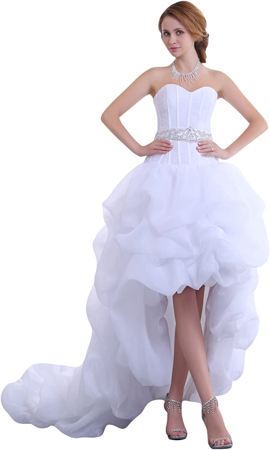 Vampal White Sweetheart Organza Wedding Dress Short In Front With Long Train