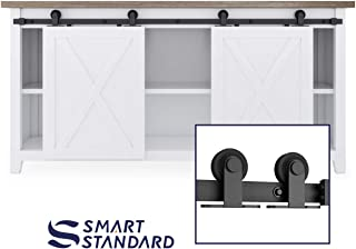 SMARTSTANDARD 6FT Mini Sliding Barn Door Hardware Track Kit -Super Smoothly and Quietly -for Double Opening Cabinet, TV Stand, Closet, Window - Fit 18