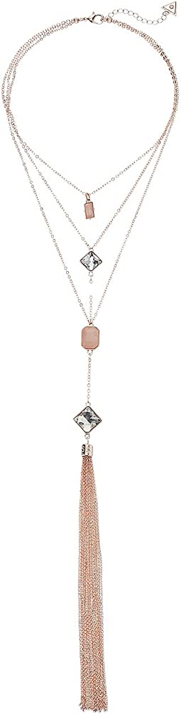 Look of 3 Stone Pendants with Chain Tassel Necklace